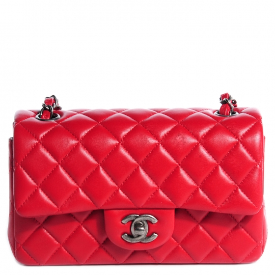 CHANEL Lambskin Quilted New Mini Flap Red