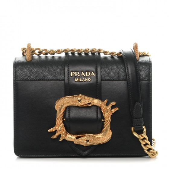 PRADA City Calf Saffiano Animalier Top Handle Bag Black