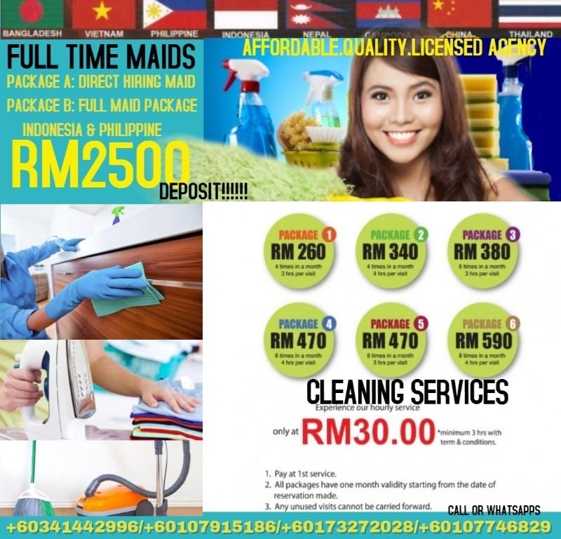 Cleaning Services and Full Time maids to be hired