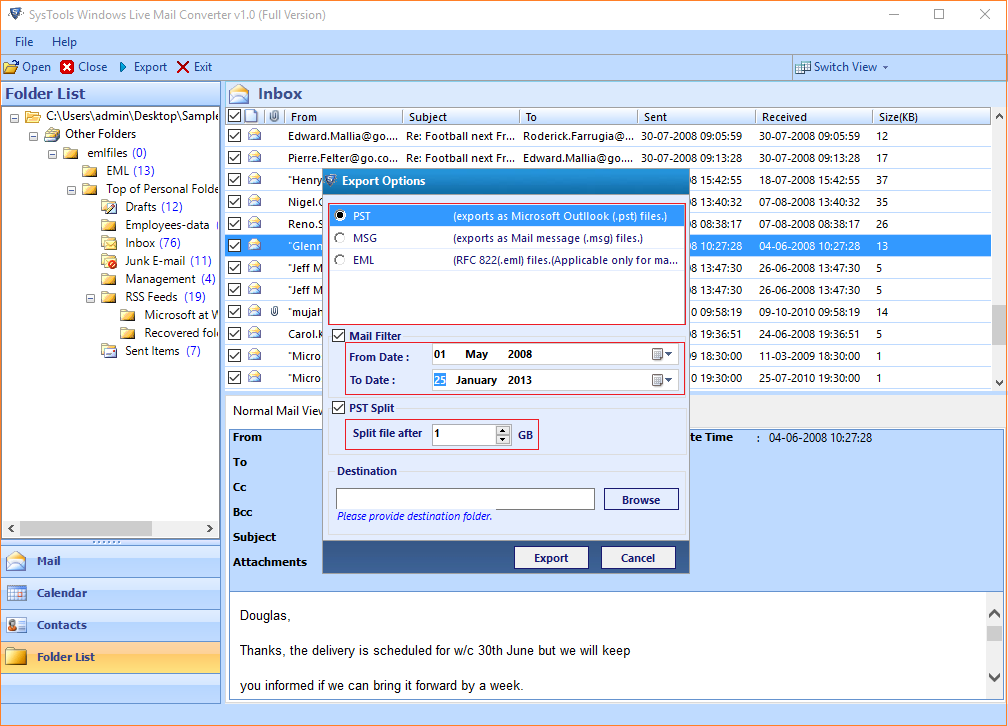 Transfer Emails, Contacts and Calendars from Windows Live Mail to Outlook- Error Free Way
