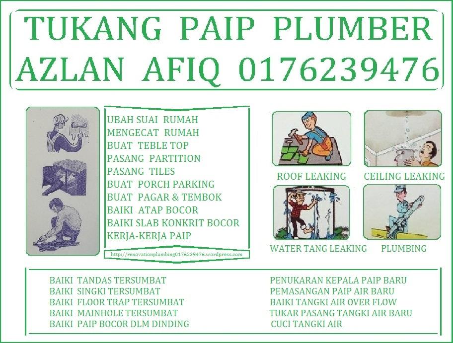 tukang paip plumber 0176239476 azlan afik wangsa maju