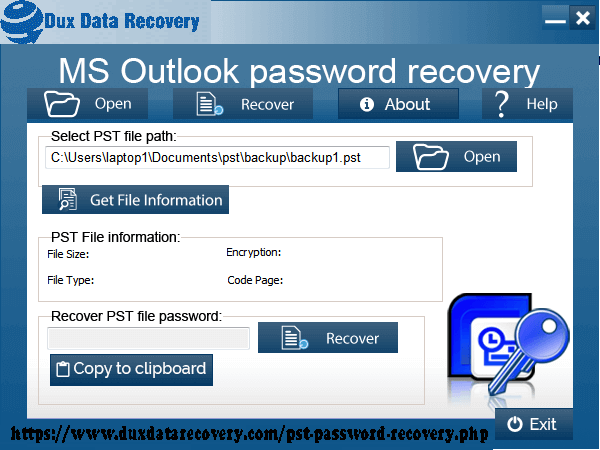 Recover lost pst password