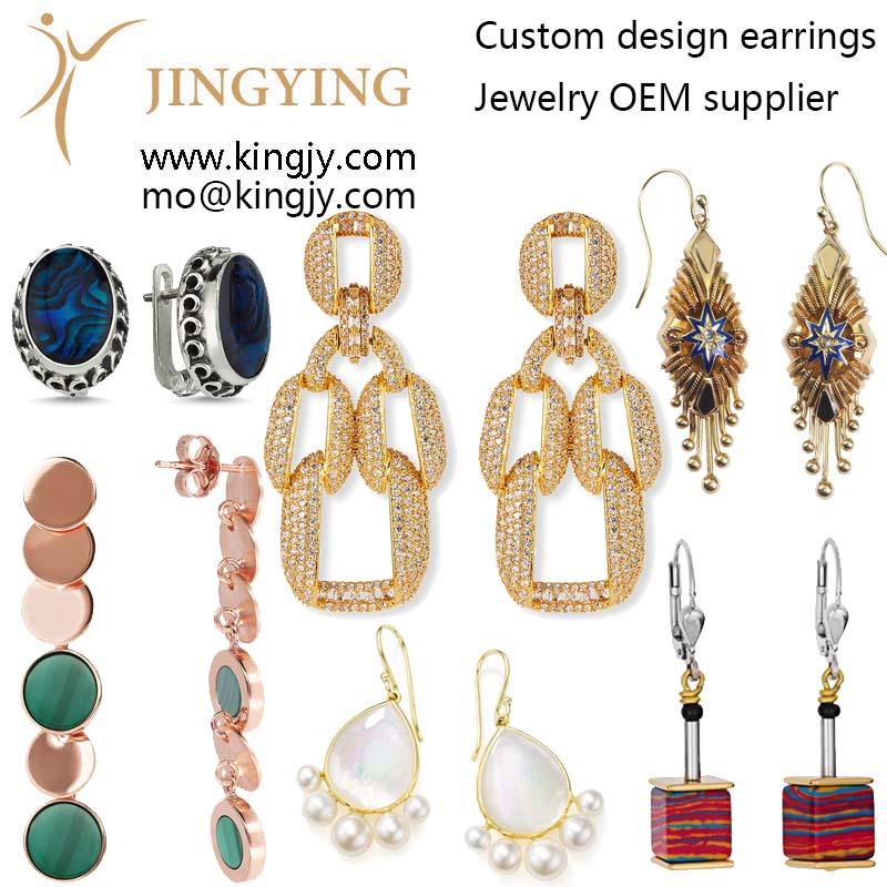 Custom earrings zirconia 925 silver fine jewelry OEM supplier