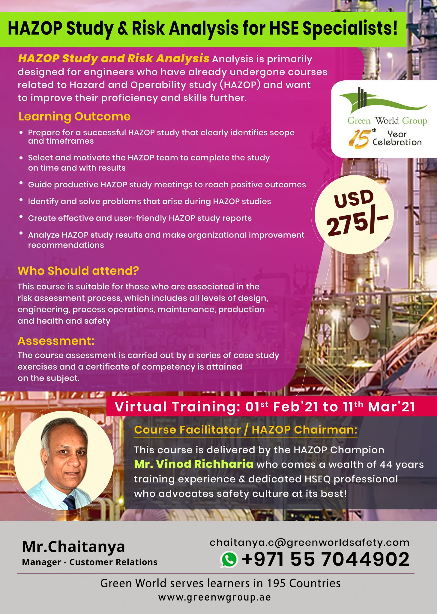 One-Time Offer On HAZOP Study & Risk Analysis For HSE Specialists